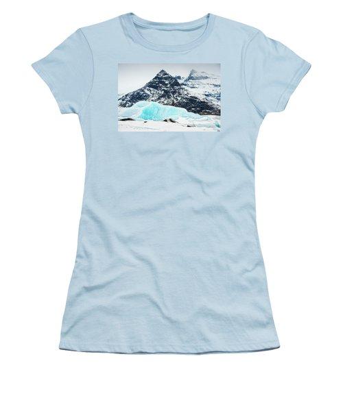 Glacier Landscape Iceland Blue Black White Women's T-Shirt (Junior Cut) by Matthias Hauser