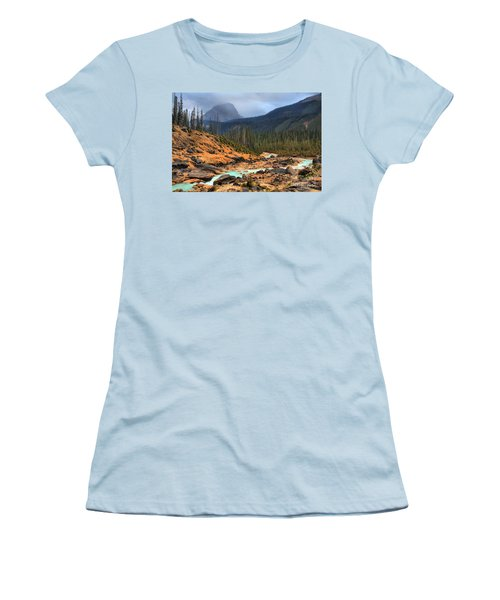 Women's T-Shirt (Junior Cut) featuring the photograph Glacier Waters Flowing Through Yoho National Park by Adam Jewell