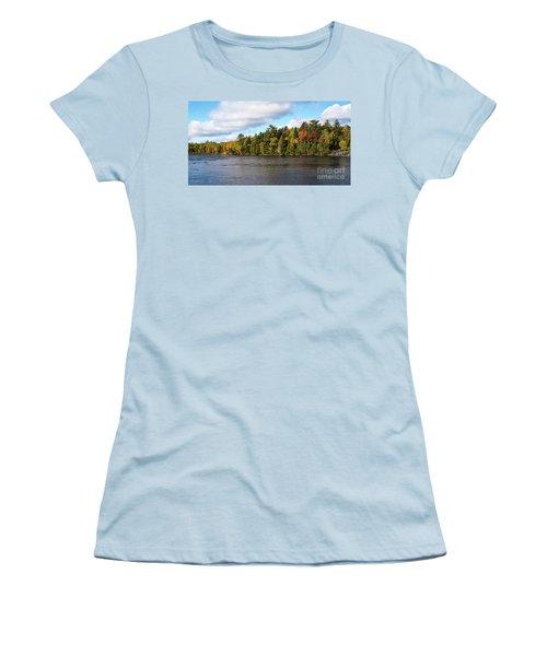 Golden Autum Day Women's T-Shirt (Junior Cut) by Sandy Molinaro