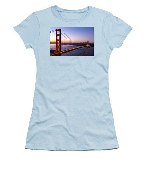 Golden Gate Bridge During Sunrise Women's T-Shirt (Athletic Fit)