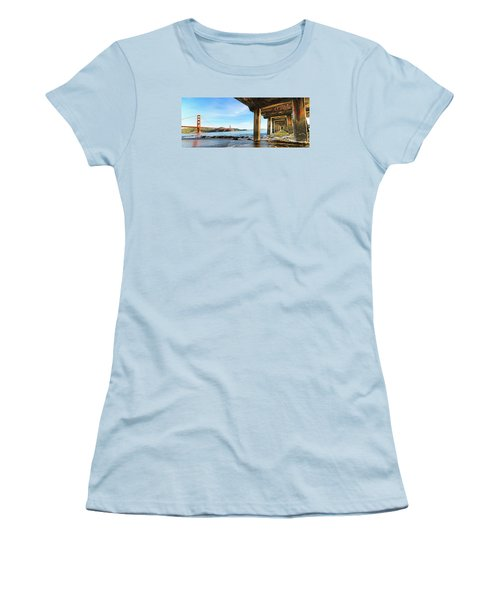 Golden Gate Bridge From Under Fort Point Pier Women's T-Shirt (Junior Cut) by Steve Siri