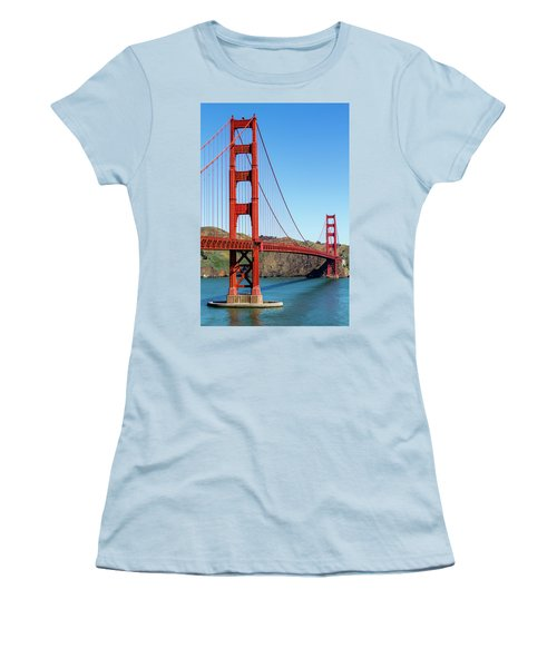 Golden Gate Bridge On Sunny Morning Women's T-Shirt (Junior Cut) by Teri Virbickis