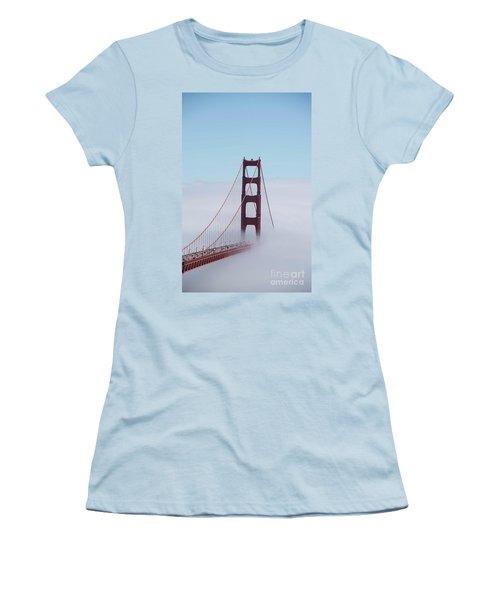 Women's T-Shirt (Junior Cut) featuring the photograph Golden Gate Fogged - 3 by David Bearden