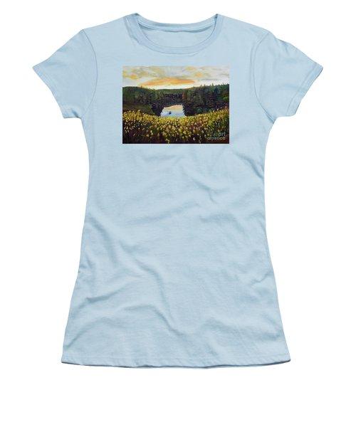 Goldenrods On Davenport Lake-ellijay, Ga  Women's T-Shirt (Junior Cut) by Jan Dappen