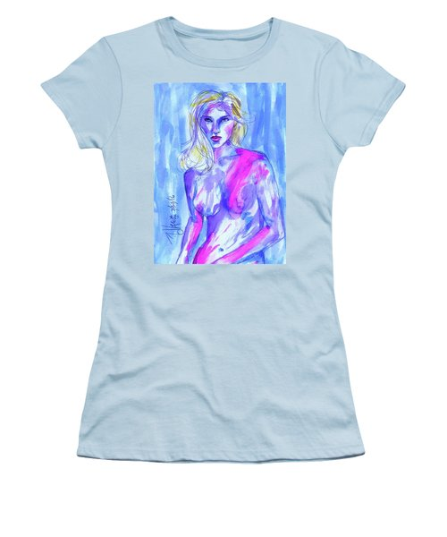 Women's T-Shirt (Junior Cut) featuring the painting Goodbye Girls by P J Lewis