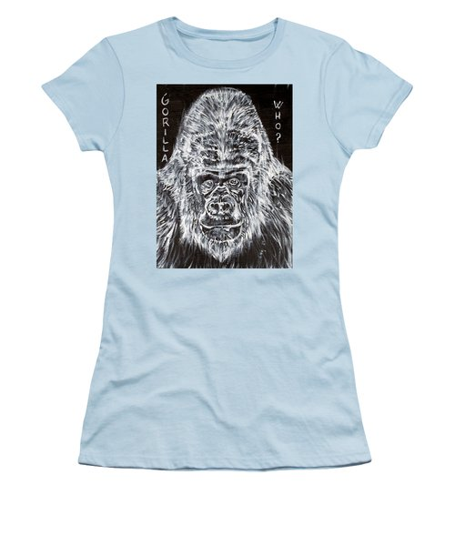 Women's T-Shirt (Junior Cut) featuring the painting Gorilla Who? by Fabrizio Cassetta