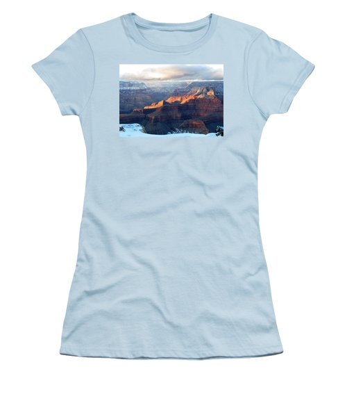 Women's T-Shirt (Junior Cut) featuring the photograph Grand Canyon With Snow by Laurel Powell