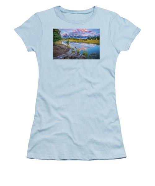 Grand Teton Sunrise Reflection Women's T-Shirt (Athletic Fit)