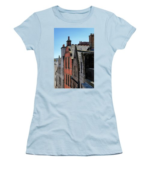 Women's T-Shirt (Athletic Fit) featuring the photograph Grassmarket In Edinburgh, Scotland by Jeremy Lavender Photography