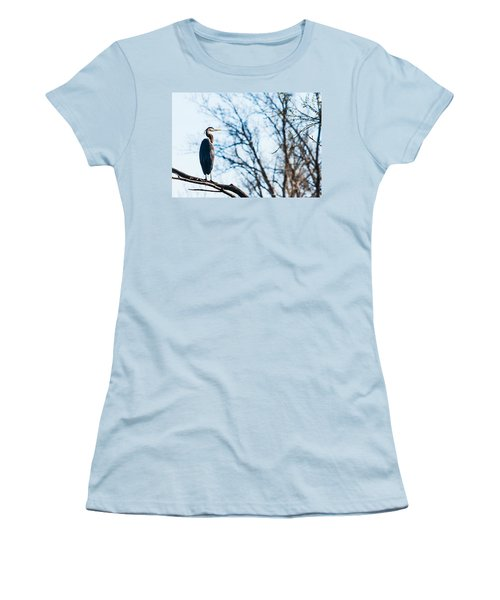Women's T-Shirt (Junior Cut) featuring the photograph Great Blue Heron Sitting In A Tree by Edward Peterson