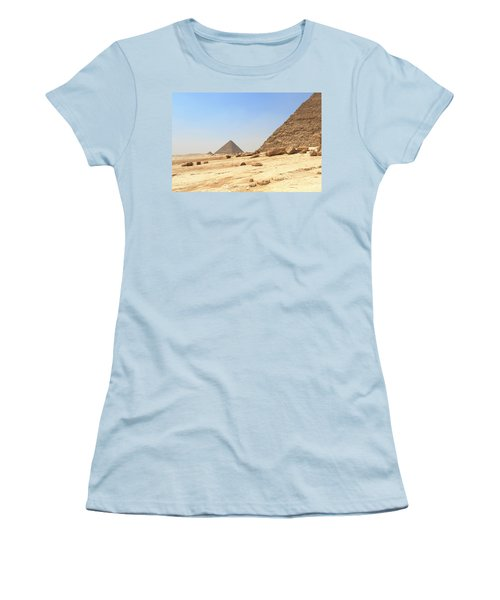 Women's T-Shirt (Athletic Fit) featuring the photograph Great Pyramids Of Gizah by Silvia Bruno
