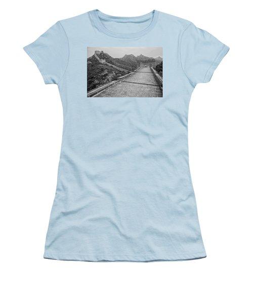Women's T-Shirt (Junior Cut) featuring the photograph Great Wall 5, Jinshanling, 2016 by Hitendra SINKAR