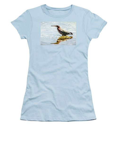 Women's T-Shirt (Junior Cut) featuring the photograph Green Heron Bright Day by Robert Frederick