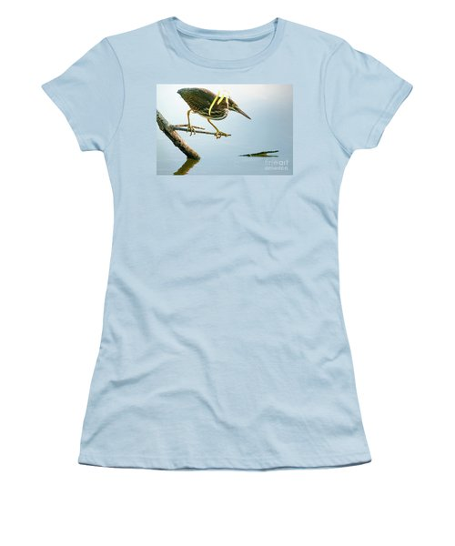 Women's T-Shirt (Junior Cut) featuring the photograph Green Heron Sees Minnow by Robert Frederick
