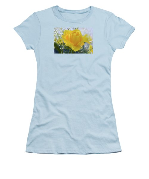 Women's T-Shirt (Junior Cut) featuring the photograph Gypsophila And The Rose. by Terence Davis