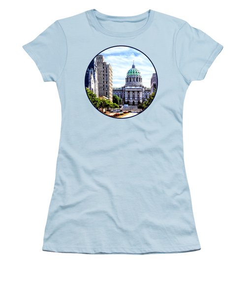 Harrisburg Pa - Capitol Building Seen From State Street Women's T-Shirt (Junior Cut) by Susan Savad
