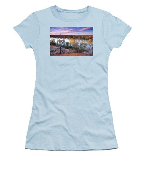 Heading Cliffs Murray River South Australia Women's T-Shirt (Junior Cut) by Bill Robinson