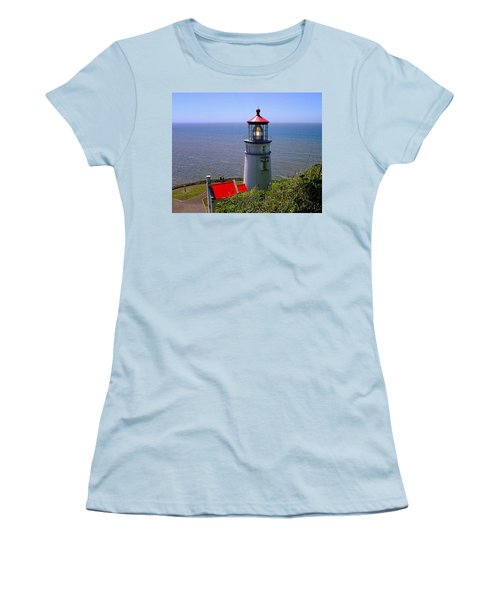 Heceta Head Lighthouse Women's T-Shirt (Junior Cut) by Wendy McKennon