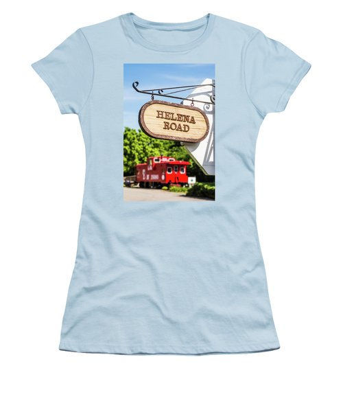 Women's T-Shirt (Junior Cut) featuring the photograph Helena Road Sign by Parker Cunningham