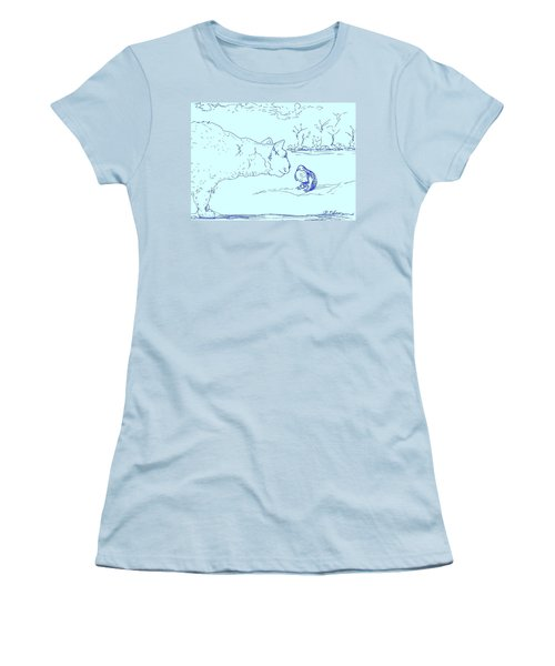 Women's T-Shirt (Junior Cut) featuring the drawing Hello Birdie by Denise Fulmer
