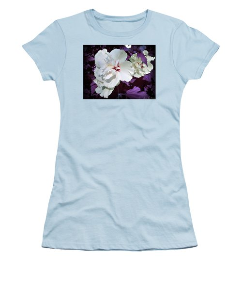 Women's T-Shirt (Athletic Fit) featuring the photograph Hibiscus - Circa 2006 Saratoga, Ny by Iowan Stone-Flowers