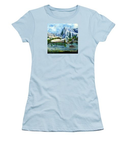 High Lake First Snow Women's T-Shirt (Junior Cut) by Randy Sprout