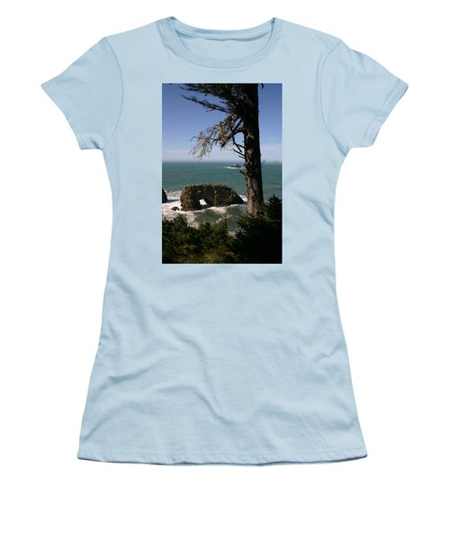 Women's T-Shirt (Junior Cut) featuring the photograph Hole In One At Arch Rock by Marie Neder