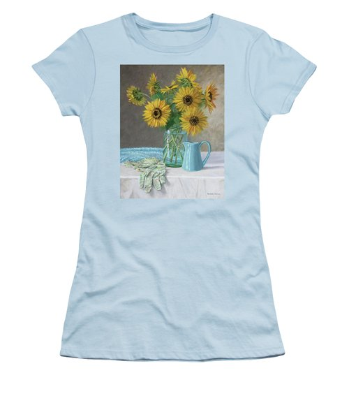 Homegrown - Sunflowers In A Mason Jar With Gardening Gloves And Blue Cream Pitcher Women's T-Shirt (Athletic Fit)