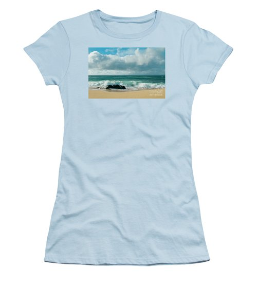Women's T-Shirt (Athletic Fit) featuring the photograph Hookipa Beach Pacific Ocean Waves Maui Hawaii by Sharon Mau