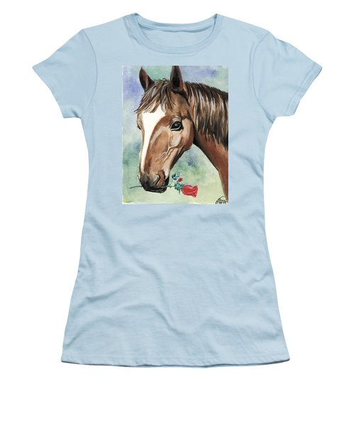 Horse In Love Women's T-Shirt (Junior Cut) by Alban Dizdari