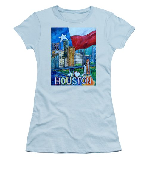 Houston Montage Women's T-Shirt (Junior Cut) by Patti Schermerhorn