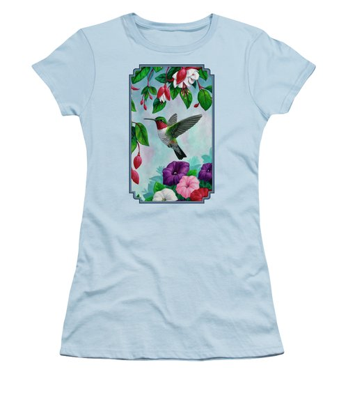 Hummingbird Greeting Card 1 Women's T-Shirt (Junior Cut) by Crista Forest