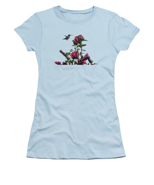 Hummingbird With Rose Of Sharon Women's T-Shirt (Athletic Fit)