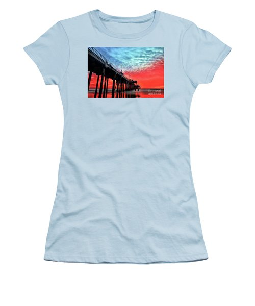 Huntington Beach Pier Sunset Women's T-Shirt (Athletic Fit)