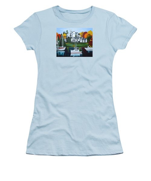 Women's T-Shirt (Junior Cut) featuring the painting Impressions Of New England Two by Donna Blossom