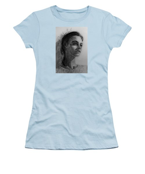 Women's T-Shirt (Junior Cut) featuring the painting In This Silence I Believe by Jarko Aka Lui Grande