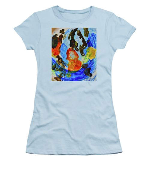 Women's T-Shirt (Athletic Fit) featuring the painting Intuitive Painting  215 by Joan Reese