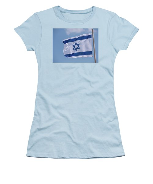 Israeli Flag In The Wind Women's T-Shirt (Junior Cut) by Yoel Koskas