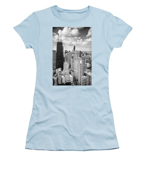 John Hancock Building In The Gold Coast Black And White Women's T-Shirt (Athletic Fit)