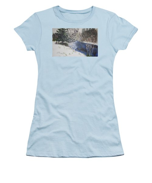 Women's T-Shirt (Junior Cut) featuring the painting Johnson Vermont In Spring Snow Storm by Donna Walsh