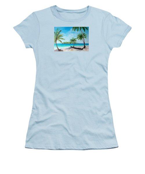 Kayak On The Beach Women's T-Shirt (Junior Cut) by Lloyd Dobson