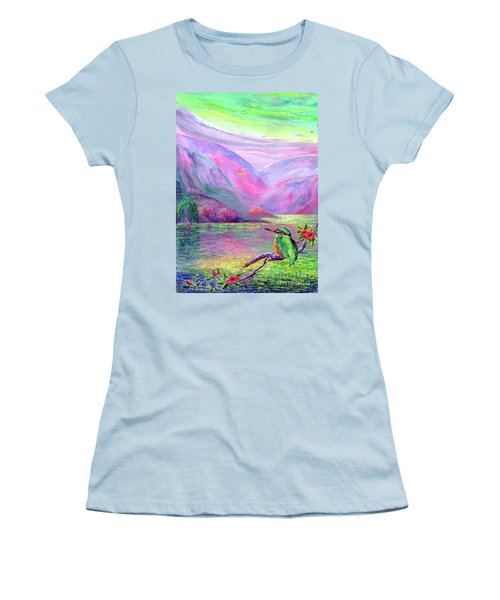 Kingfisher, Shimmering Streams Women's T-Shirt (Athletic Fit)