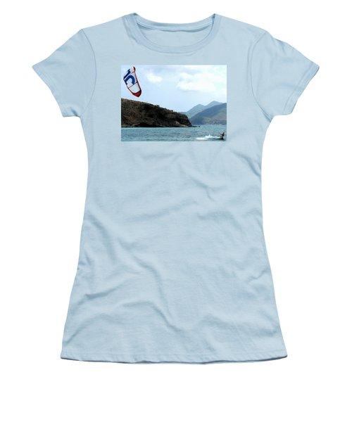 Kite Surfer St Kitts Women's T-Shirt (Athletic Fit)