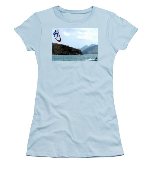 Kite Surfer St Kitts Women's T-Shirt (Junior Cut) by Ian  MacDonald