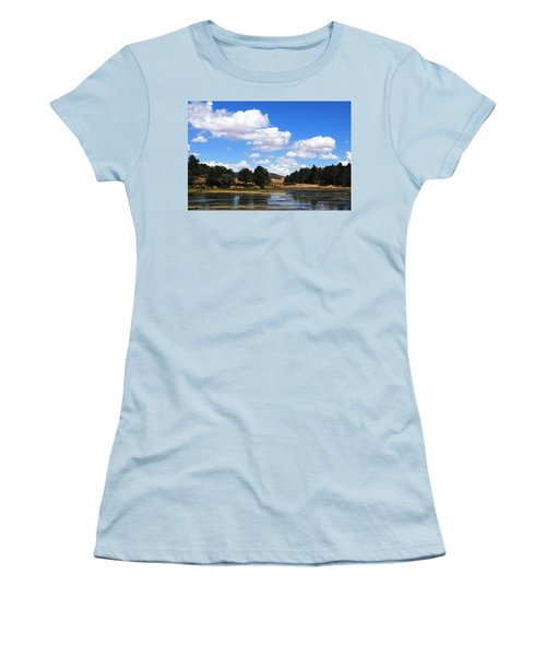 Lake Cuyamac Landscape And Clouds Women's T-Shirt (Junior Cut) by Matt Harang