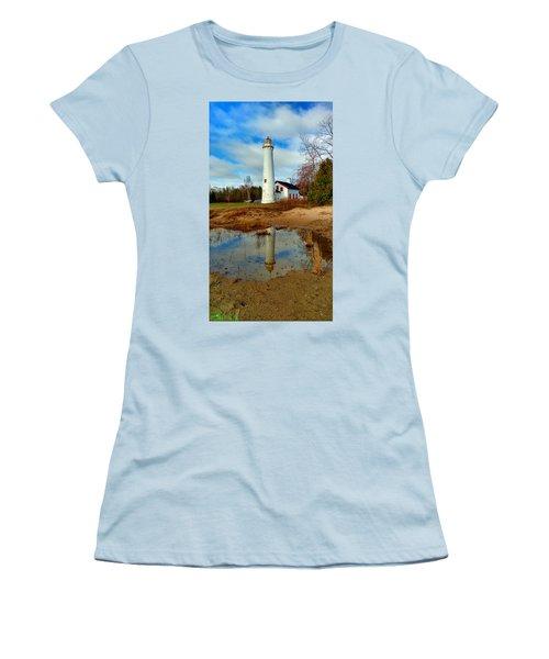 Lake Huron Lighthouse Women's T-Shirt (Junior Cut) by Michael Rucker