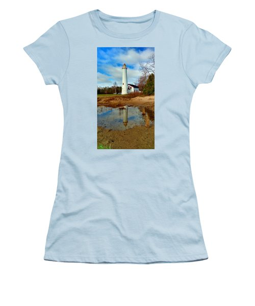 Lake Huron Lighthouse Women's T-Shirt (Athletic Fit)