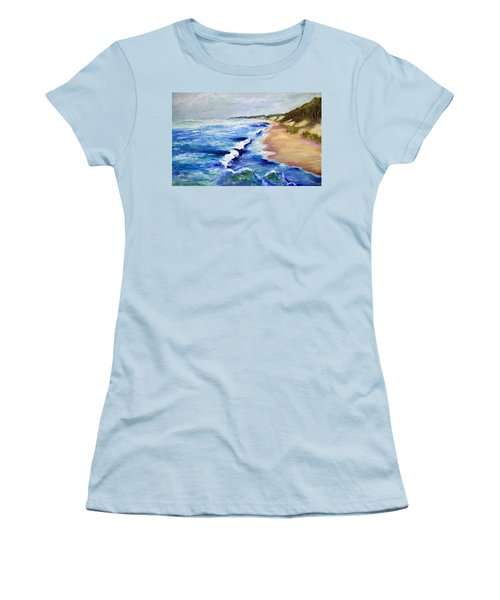 Lake Michigan Beach With Whitecaps Women's T-Shirt (Athletic Fit)