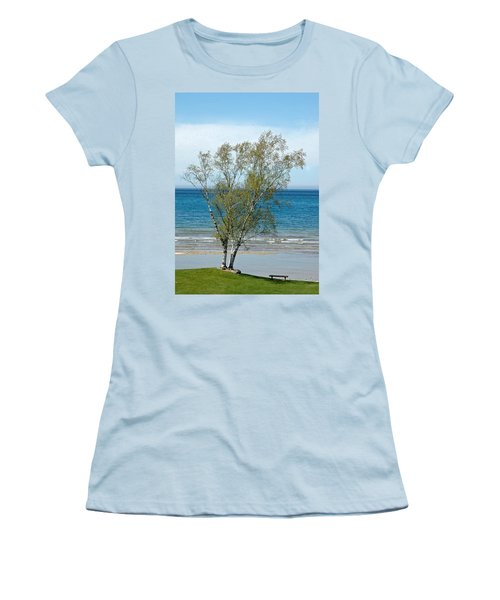 Women's T-Shirt (Junior Cut) featuring the photograph Lake Michigan Birch Tree by LeeAnn McLaneGoetz McLaneGoetzStudioLLCcom