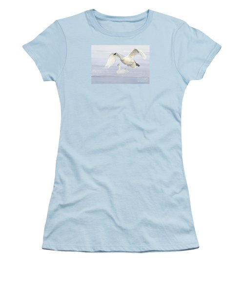 Women's T-Shirt (Junior Cut) featuring the photograph Landing In The Cold by Larry Ricker